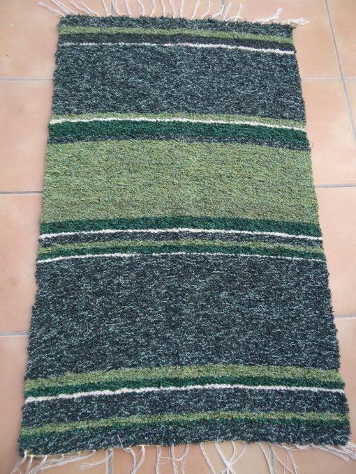 Jarapa pie de cama artesana tonos verdes