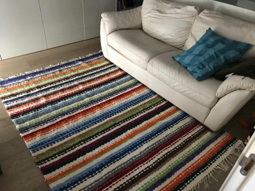 Jarapa Alpujarreña de colorines, ideal para salónes de algodón tejida en La Alpujarra