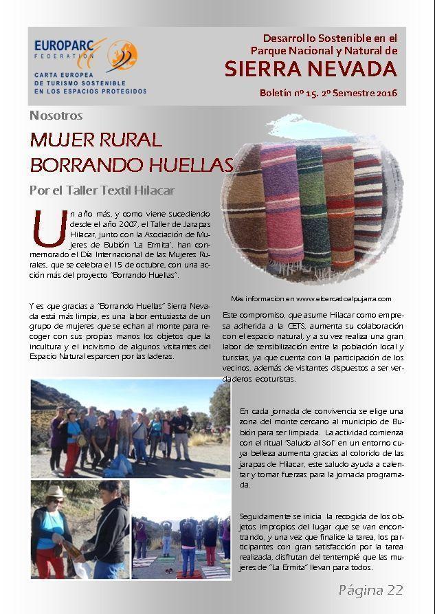 Boletín desarrollo sostenible en el Parque Nacional y Natural de Sierra Nevada. Nº15. Mujer Rural.