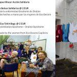 Telar de Jarapa Hilacar con las eco bolsas Solidarias.