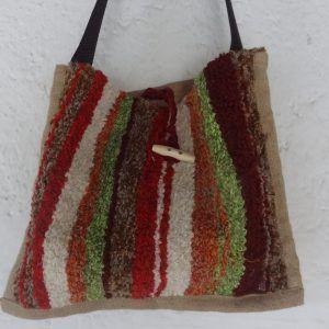 Bolso jarapa Alpujarra marrones con verde