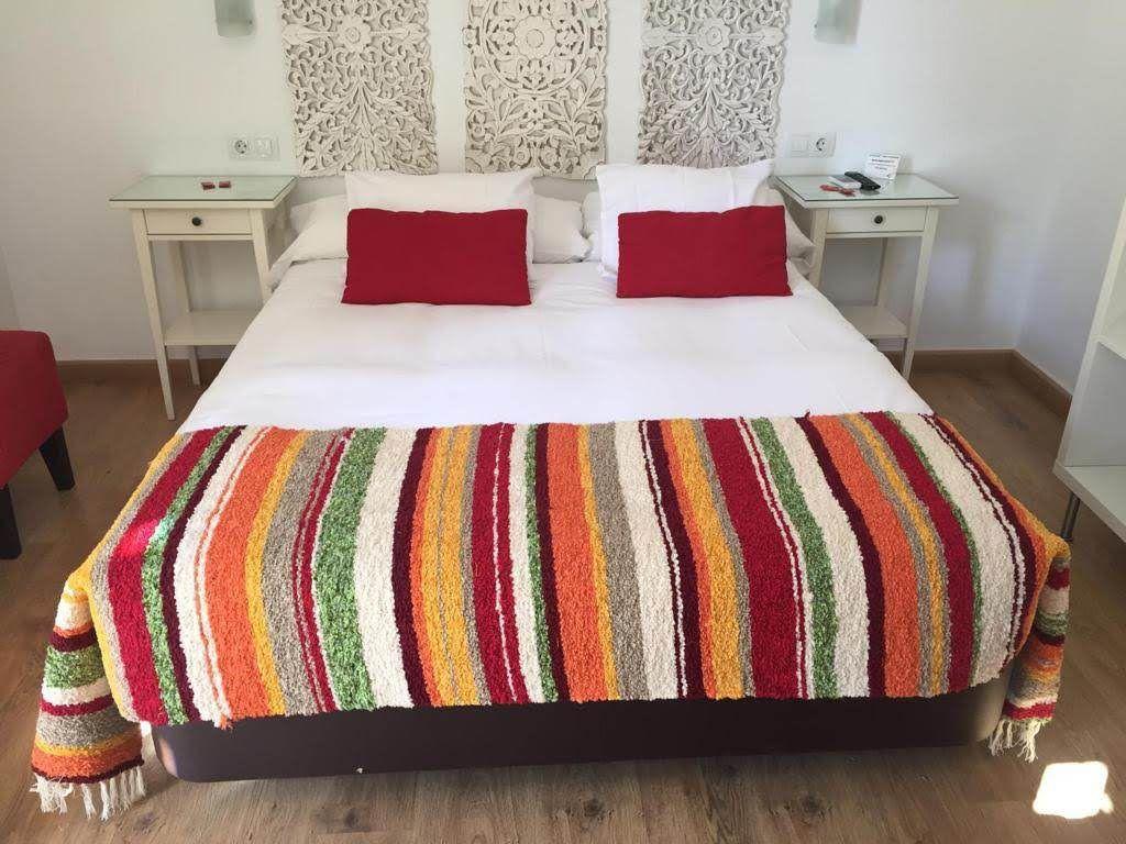 Plaid de cama de jarapa tejido en telar manual