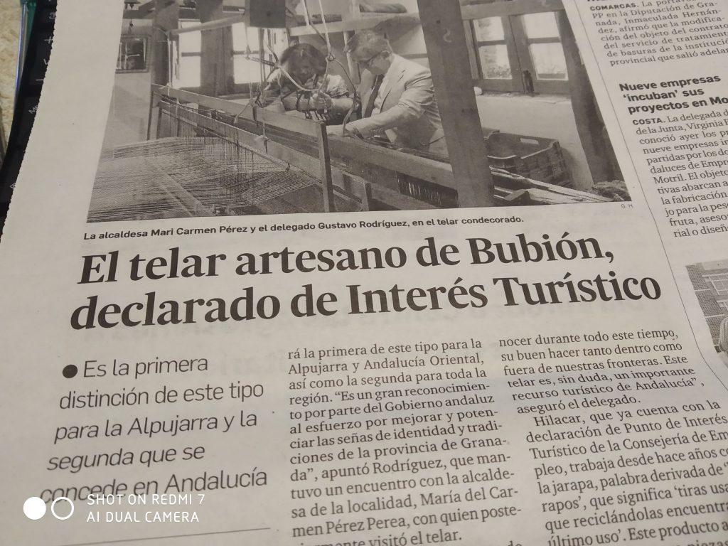 Recorte del periodico de Granada Hoy con motivo de la declaracion de Lugar de Interes Artesanal Andaluz al telar de jarapas Hilacar en Bubión
