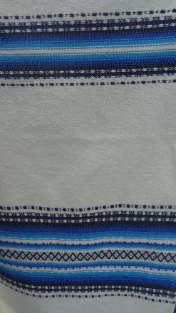 cortina Alpujarreña beis con azul para puerta y ventanas