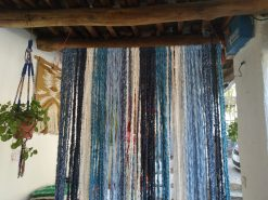 Cortinas de tiras de jarapa en azul
