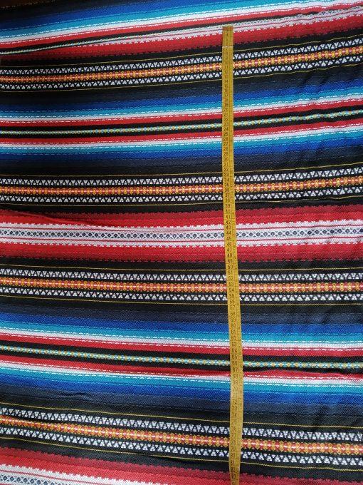 Tela Alpujarreña por metros azul con colorines